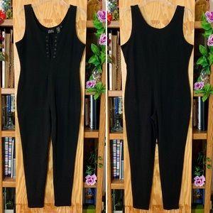 Vintage 80's Black Sleeveless Skinny Leg Jumpsuit